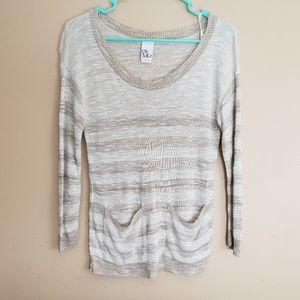 Striped Lightweight Sweater Sz Medium Pockets E2
